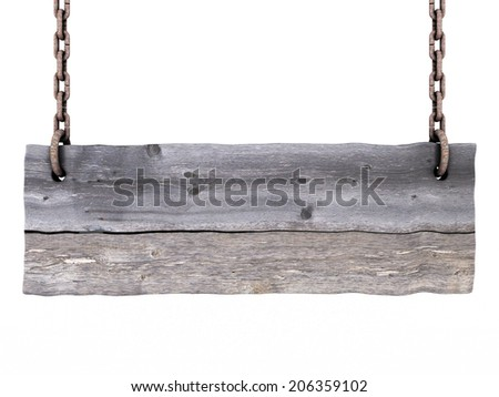 old blank wooden sign isolated on a white background - stock photo