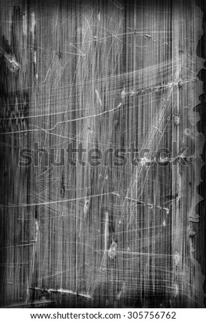 Old Bleached Gray Varnished Wooden Laminated Panel, Weathered, Cracked, Scratched Vignette Grunge Texture. - stock photo