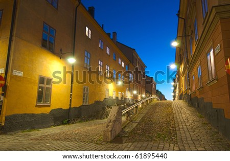 Old block at night  in Sodermalm, Stockholm, Sweden - stock photo