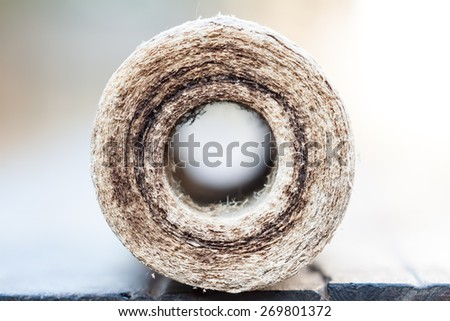 old blocks filters for cleaning water in equipment plumbing pipe - stock photo