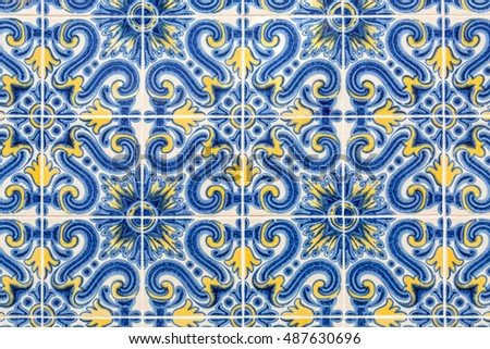 old blue and yellow colored azulejos - hand painted tiles from Lisbon