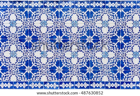 old blue azulejos - original hand painted tiles from Lisbon, Portugal