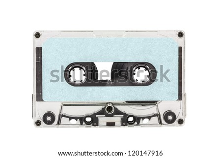 Old blue blank cassette tape isolated with clipping path.