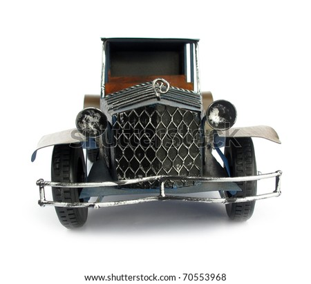 Old blue car toy - stock photo
