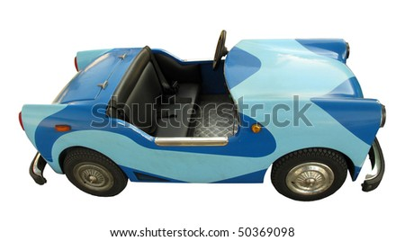Old blue car toy for kids - stock photo