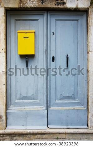Old blue door - stock photo