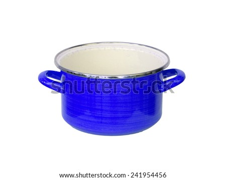 Old blue metal cooking pot isolated on white - stock photo
