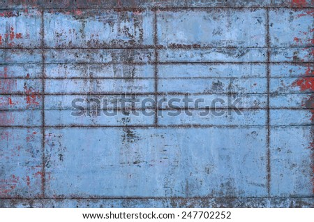 Old Blue Metal Texture with Seams (Part of Grungy Textures with Rusty Seams set, which includes textures that can be used together to create a huge image) - stock photo