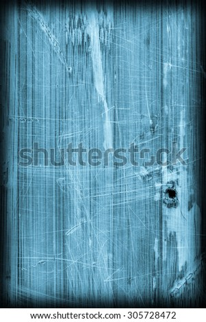 Old Blue Stained Varnished Wooden Laminated Panel, Weathered, Cracked, Scratched Vignette Grunge Texture. - stock photo