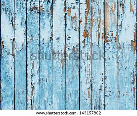 Old blue wood plank background. Closeup. - stock photo