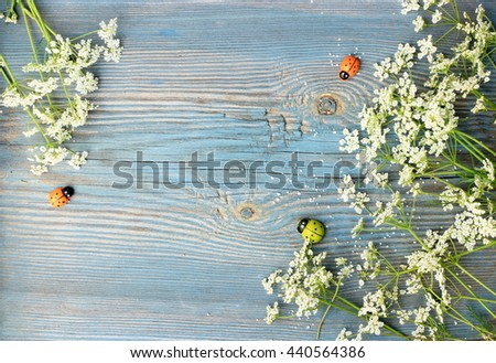 Old blue wooden background with frame made of small white flowers and decorative  wooden ladybirds. Copy space with floral and handmade wooden decor elements. Rustic design - stock photo