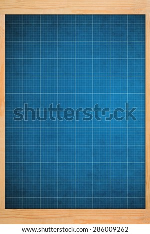 old blueprint background texture in  wooden frame. Technical backdrop paper. - stock photo