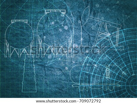 Old blueprint background texture technical backdrop stock old blueprint background texture technical backdrop paper outline silhouettes on concrete textured backdrop malvernweather Image collections