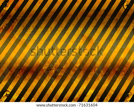 Old board of caution with black and yellow lines. Illustration - stock photo
