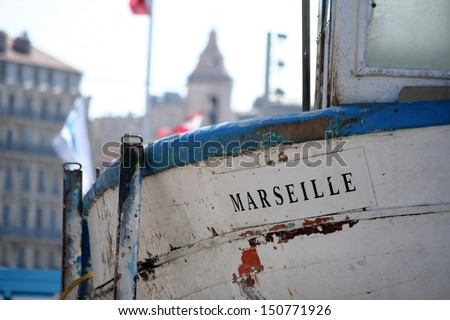 old boat in marseille, france, provence - stock photo