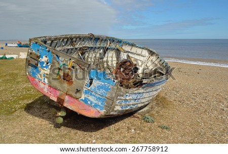 Old Boat on Sizewell beach Suffolk. - stock photo