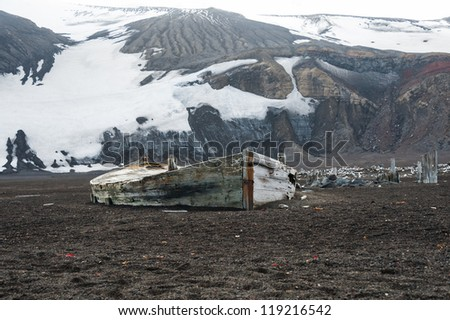 Old boat on the Deception island, Antarctica - stock photo