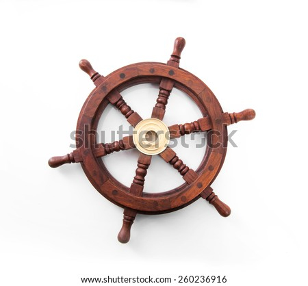 Old boat steering wheel isolated on the white background. - stock photo