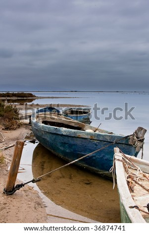 Old boats under the storm