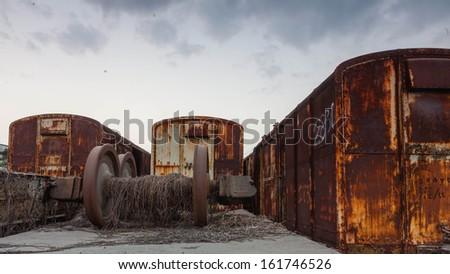 old bogie, train wheel - stock photo
