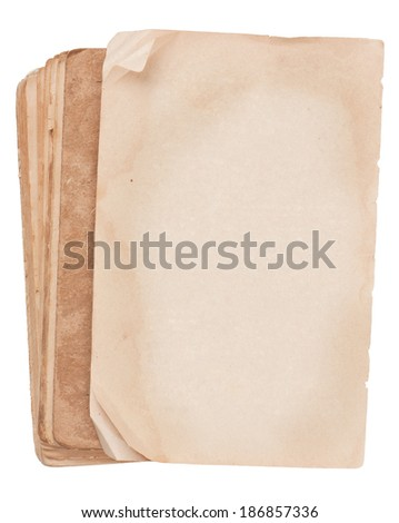 Old book and paper on a white background