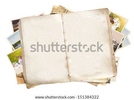Old book and photos. Objects isolated over white - stock photo