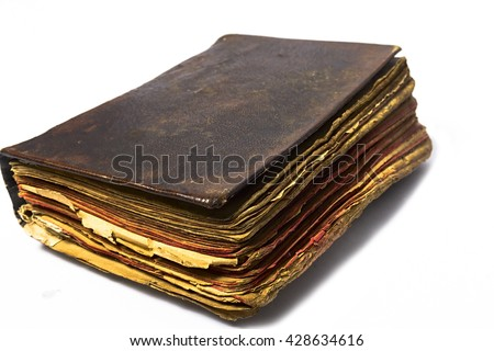 Old book background texture isolated on white - stock photo