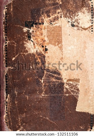 Old book cover texture, vintage leather and paper - stock photo