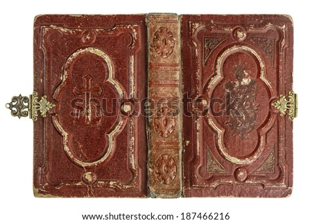 old book cover with vintage decoration isolated on white background - stock photo