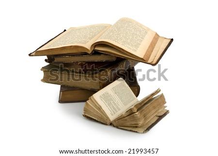 Old book on white background. Publishing 19 ages - stock photo