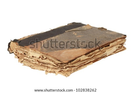 Old book on white background. With clipping path - stock photo