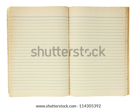 Old book open isolated on white background with clipping path - stock photo