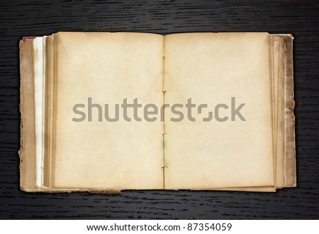 old book open on dark wood background - stock photo