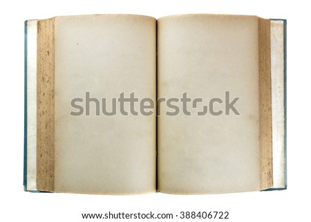 old book open on white background with clipping path, top view