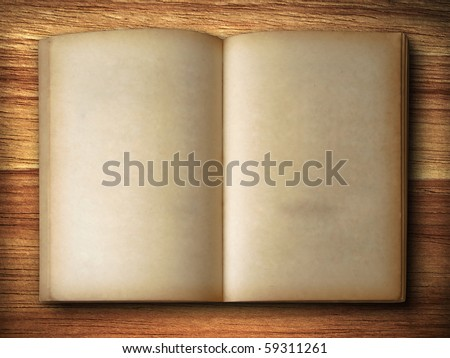 Old book Open two face on wood - stock photo