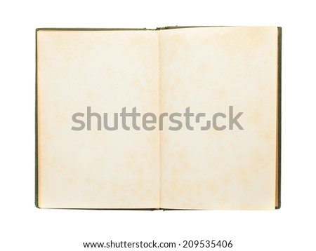 old book opened on an empty page, isolated on white