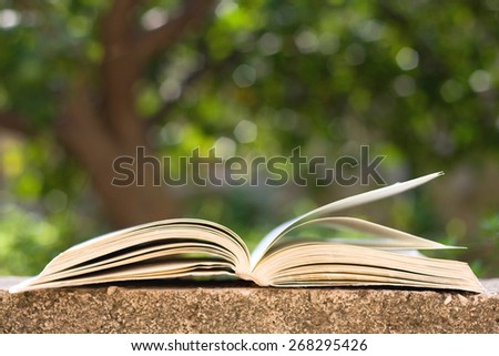 Old book, opened with flipped pages, outdoor in nature. Selective focus and beautiful green tree bokeh in the background.  - stock photo