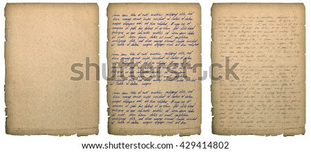 Old book page with worn edges isolated on white. Paper texture background. Handwritten letter. Latin text Lorem ipsum. Handwriting. Calligraphy. Manuscript. Script.  - stock photo