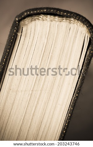 Old Book pages close-up, art retro style toned photo - stock photo