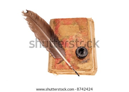 Old book, quill and black ink isolated on white - stock photo