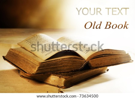 Old Book.Selective focus - stock photo