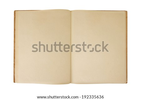 Old book spread page open isolated on white background