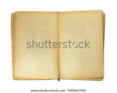 Old book with blank yellow stained pages isolated on white