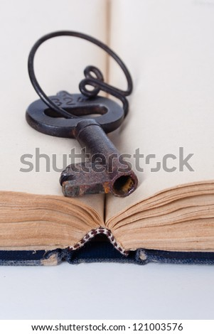 old books and key-lock - stock photo