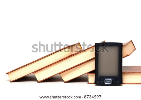 Old books and new technology - stock photo