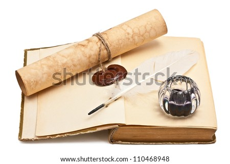Old books and old paper with a wax seal