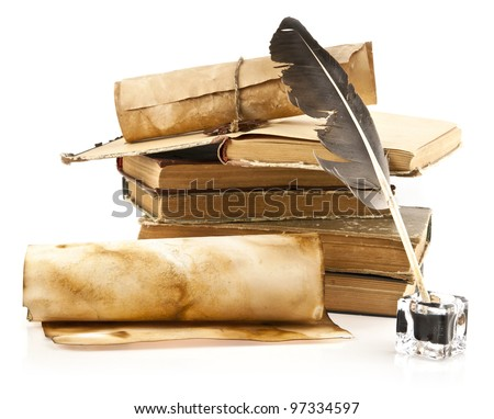 old books and pen on a white background - stock photo