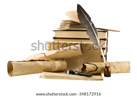 old books and pen on white background
