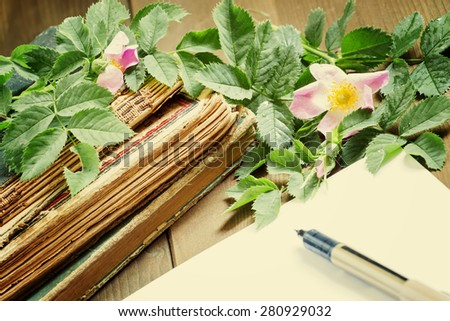 Old books blank paper flowers wild stock photo 280929032 shutterstock old books blank paper flowers of wild roses in vintage style selective focus mightylinksfo