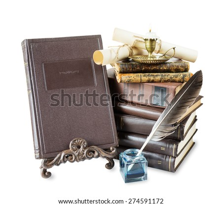 Old books, burning candle in candlestick, feather pen in inkpot,  bookrest and scroll with stamp, isolated on white background - stock photo